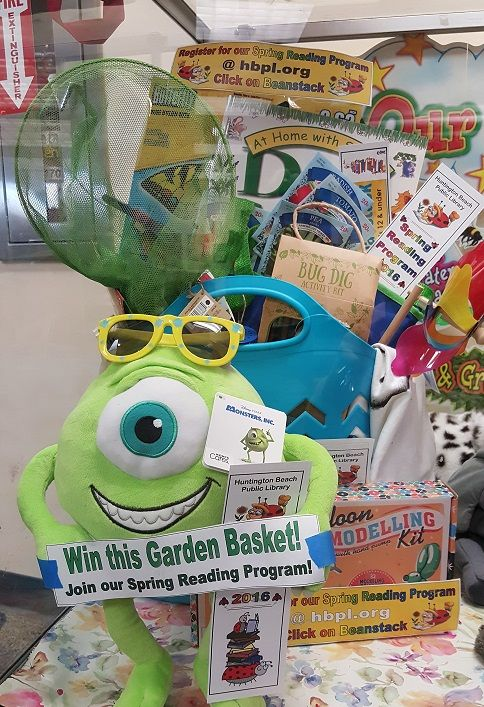 Spring into Reading- Earn virtual raffle tickets for every hour your child reads to win this fun garden basket (5 ticket max per child).  This program runs March 28 - April 30.  Culminating in a Garden Party hosted by the HB Tree Society in the Secret Garden 4/30 from 10 am to 1 pm for all participants.