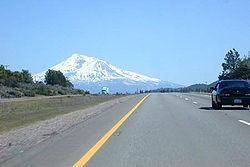 Interstate 5 southbound approaching Weed, California and Mt. Shasta.