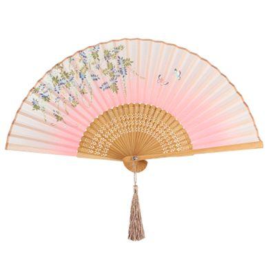 Oriental Hand Fan Handheld Folding Fan Bamboo, C