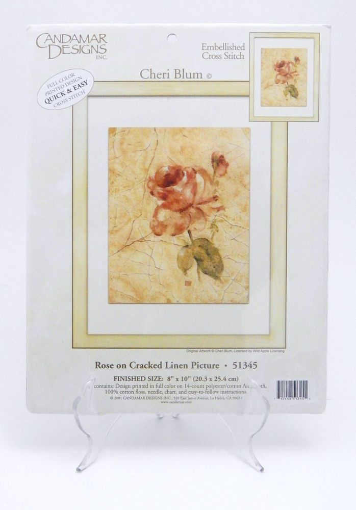 Candamar Embellished Cross Stitch Kit Rose on Cracked Linen 51345 Cheri Blum New #CandamarDesigns #CrossSstitch #CheriBlum