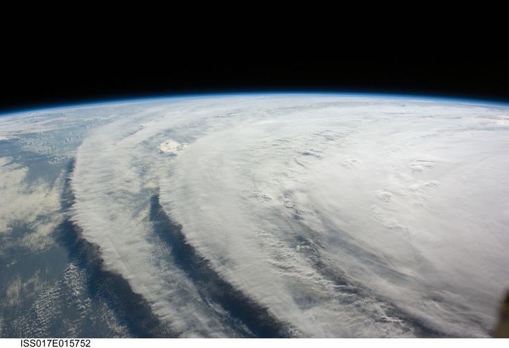 Here's a picture of Hurricane Ike taken from the International Space Station on September 10, 2008. Hurricane Ike's landfall in the United States ranks third in terms of the cost of damages.    Read more: http://www.universetoday.com/72989/hurricane-satellite-images/#ixzz2ITlr1s4D