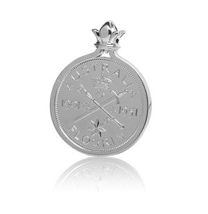 HC-51P 1951 Australian Commemorative Federation Florin Coin Sterling Silver Pendant by Cotton & Co.jpg
