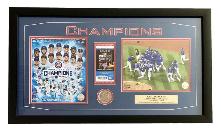 CHICAGO CUBS GAME 7 WORLD SERIES GAME USED DIRT / TICKET FRAMED COLLAGE CHAMPIONS 2016