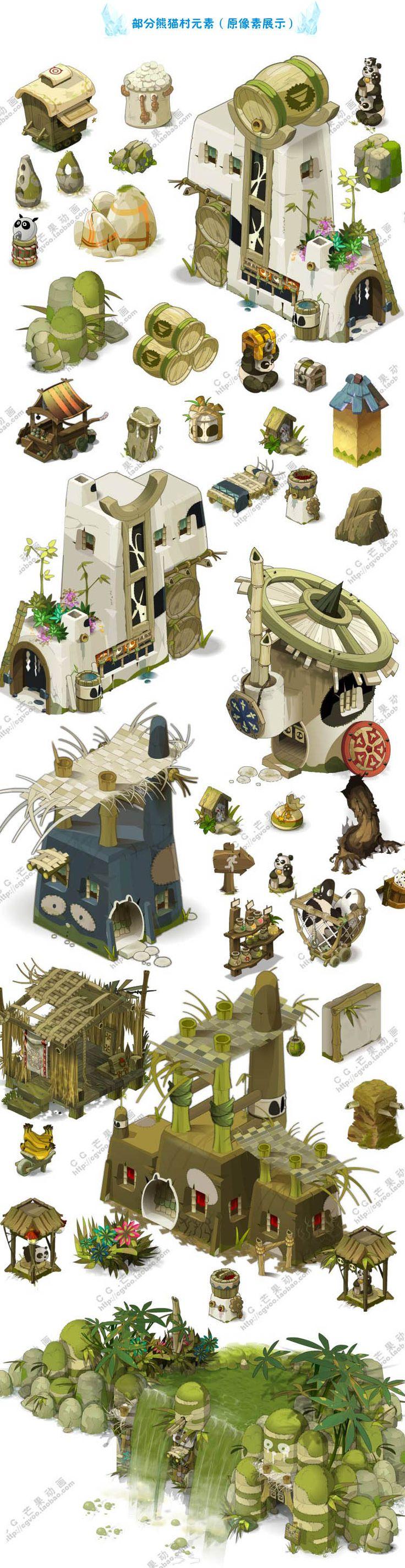 【游戏美术资源】《Dofus》 & 《沃土》Q版卡通全套元素/场景原画/UI素材