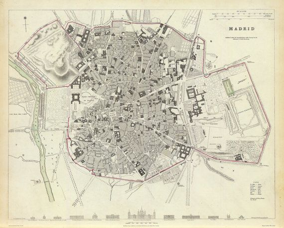 Vintage Map Madrid Spain 1831 by Imagerich on Etsy