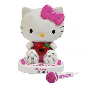 Sistema de Karaoke com câmera de vídeo embutida em cores Hello Kitty (KT2007F CDG)  Com o Sistema de Karaoke com câmera de vídeo embutida em cores Hello Kitty suas crianças vão se divertir e registrar os momentos de alegria!