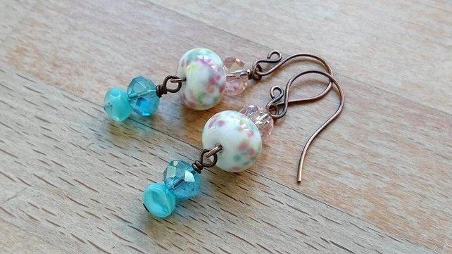 Pretty pastel earrings, copper earrings £15.00