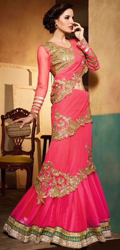 USD 110.75 Pink Net Wedding Saree 42727
