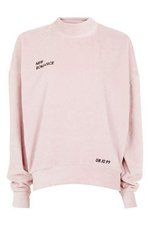 Soft hues give this sweatshirt a pretty touch. In a pink velvet, it comes with embroidered slogan detail. A perfect layering piece. #Topshop