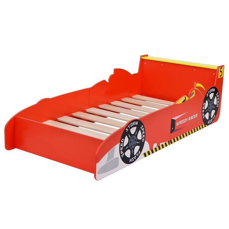 Car Bed Frame Race Kid Toddler Red Children Boys Girl Bedroom Furniture Platform #CarBedFrame