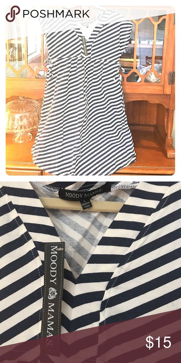 Maternity dress Brand new-never worn. Maternity dress. Navy Blue and white stripes with V neck and pockets (my fav!) Dresses Midi