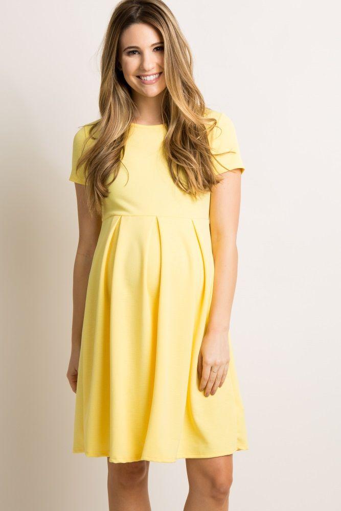 53dd395f5f650 Yellow Basic Pleated Skirt Maternity Dress in 2019 | Maternity ...