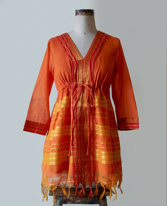 Orange and Gold Kaftan Style Tunic crafted from a saree by MograDesigns