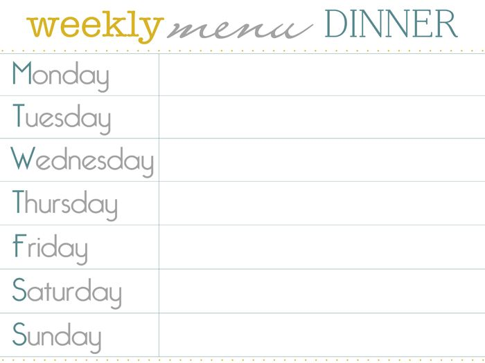 dinner menu planner printable haci saecsa co