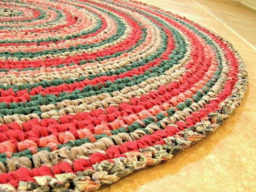 Crochet Rag Rug Eco Reused Recycle New One Of