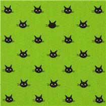 Tela oxford verde lima pequeña cara de gato de Japón