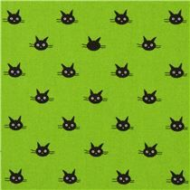 lime green small black cat face Oxford fabric from Japan - Animal Fabric - Fabric - kawaii shop modeS4u