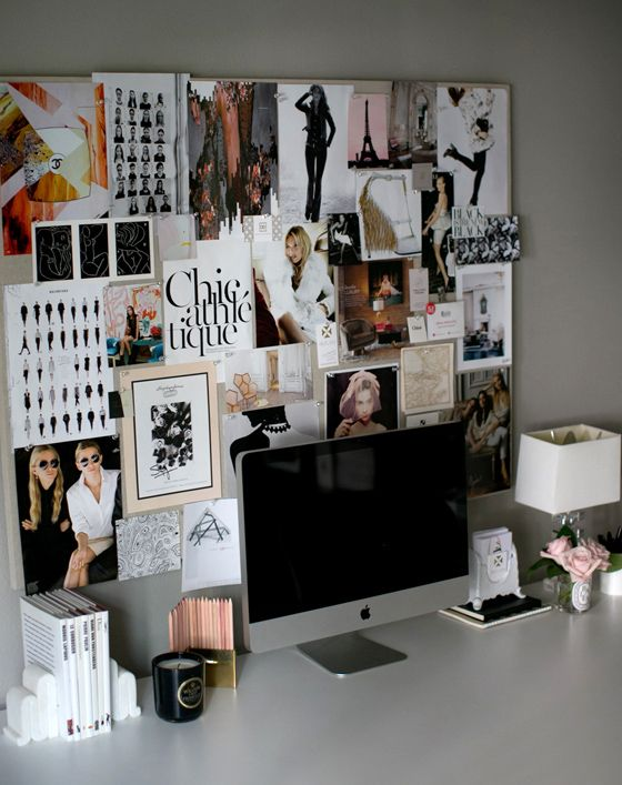 small shop by Erika Brechtel for Style Me Pretty photo by Bryce Covey office desk books roses pinboard black white blush fashion chic