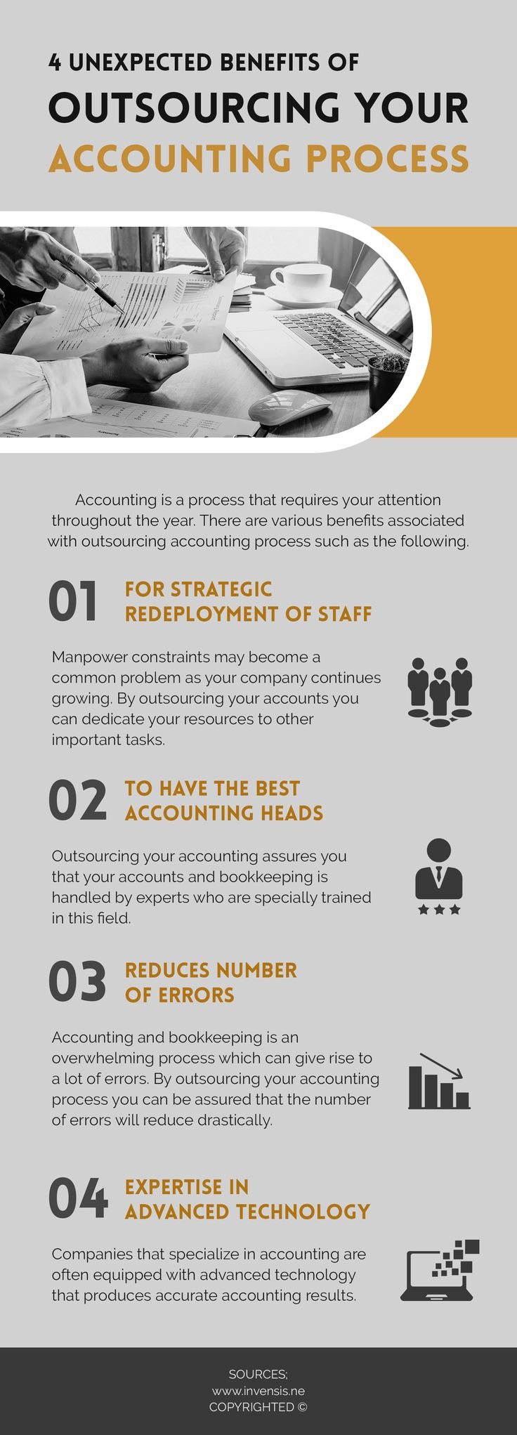 How Outsourcing Your Accounting Process Can Be Beneficial For You?  Accounting process can seem to be very overwhelming. By outsourcing your accounting process you can have the best accounting head on the job. Read the infographic to know more benefits.