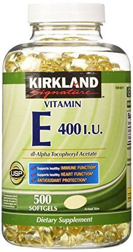 Product review for Kirkland Signature Vitamin E 400 I.U. 500 Softgels, Bottle  - Vitamin E contributes to cardiovascular health by helping to protect LDL cholesterol from oxidation which may cause cellular damage. Vitamin E helps maintain and support: Healthy Immune Function, Healthy Brain Function, Eye Health, Healthy Skin, Antioxidant Protection.