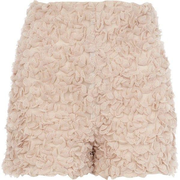 River Island Beige 3D flower embellished smart shorts ($55) ❤ liked on Polyvore