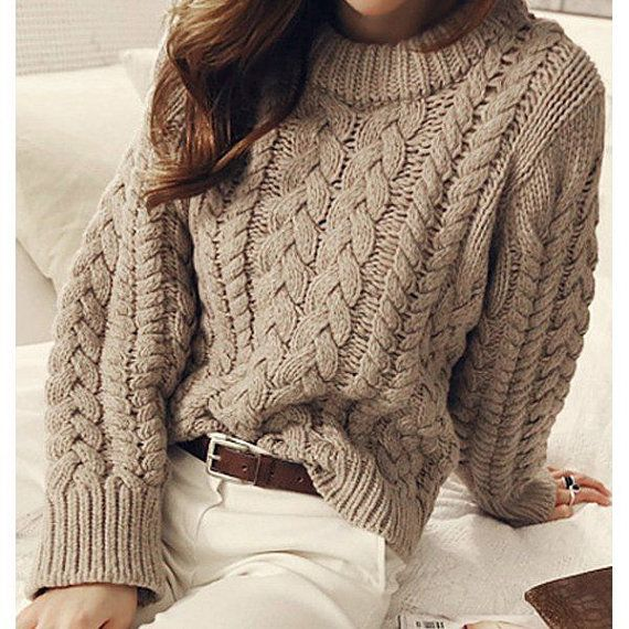 Hand Knit Women's crewneck sweater made to order hand knitted women's sweater cardigan pullover women's clothing handmade turtleneck v-neck