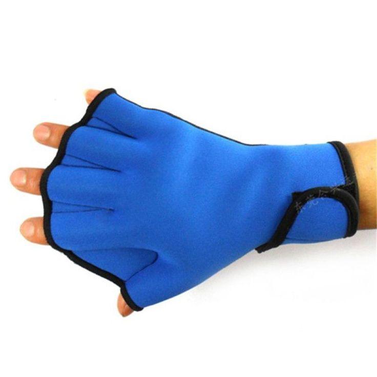 Water Aerobics Aqua Jogger Swimming Swim Surfing Diving Webbed Neoprene Paddle Gloves Blue