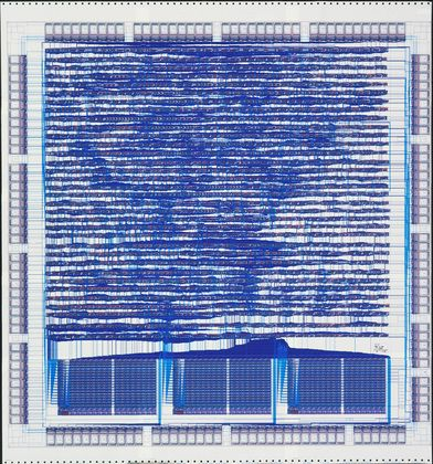 Hewlett-Packard Company, Santa Clara, CA. Diagram of Central Processing Unit Chip (Microprocessor), Corresponding Microchip. 1987