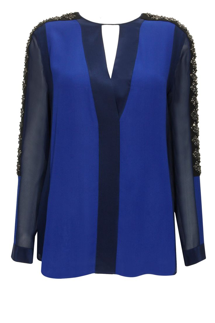 Blue colour blocked embellished top available only at Pernia's Pop-Up Shop.