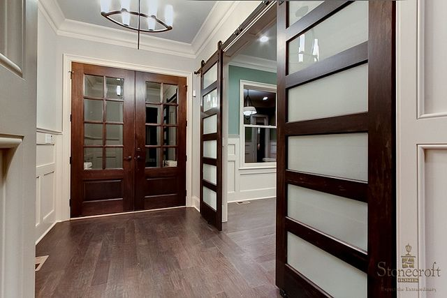 Modern twist to a barn door on rollers installed in custom home by Stonecroft Homes. Located in Norton Commons which is in Louisville, KY. | Flickr - Photo Sharing!