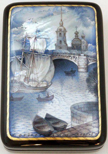 Kozlov Sergey, Fedoskino lacquer box, Sankt-Petersburg. Big Neva river