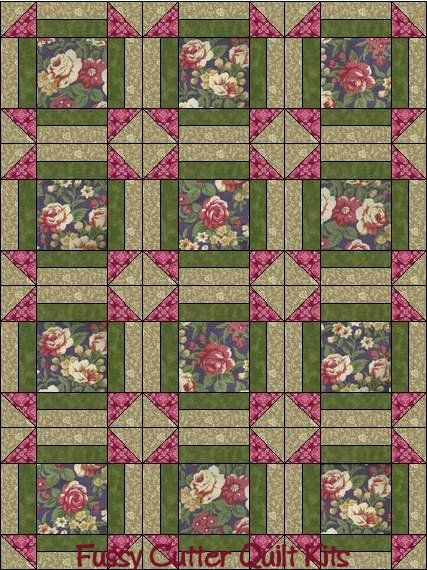 Burgundy Red Pink Cream Purple Cabbage Roses Shabby Chic Floral Fabric Easy Pre-Cut Quilt Blocks Top Squares Kit