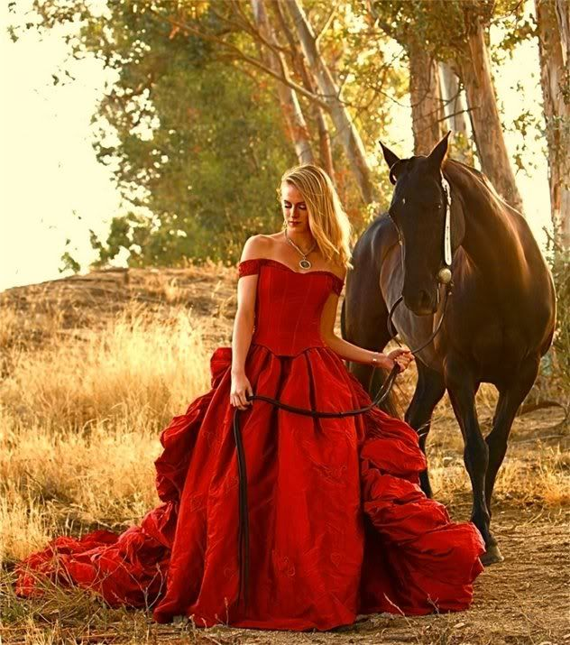 Woman in Red With Horse