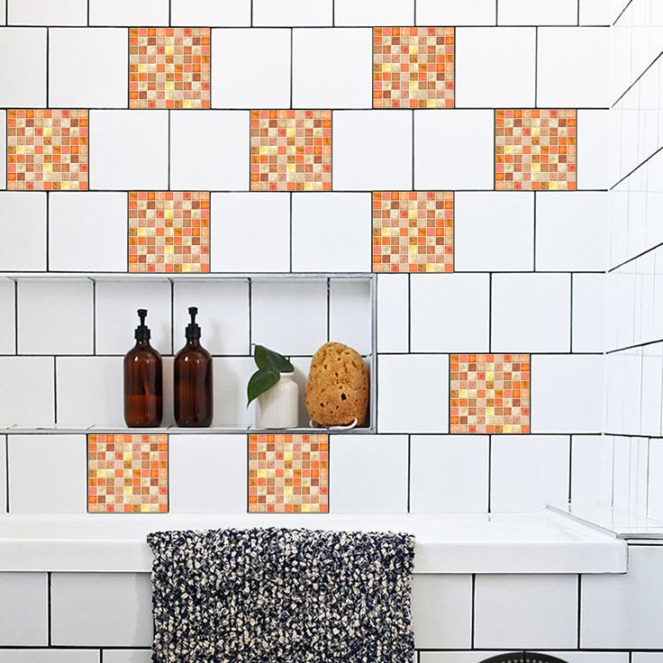 10PCS 20*20CM Mosaic Tiles Stickers Waterproof Stickers Glue Stickers