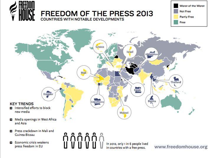 La prensa no es libre en Cuba, Venezuela, México, Honduras, Paraguay y Ecuador, según denunció hoy Freedom House en su último informe global. Se trata del mayor número en la región desde 1989.