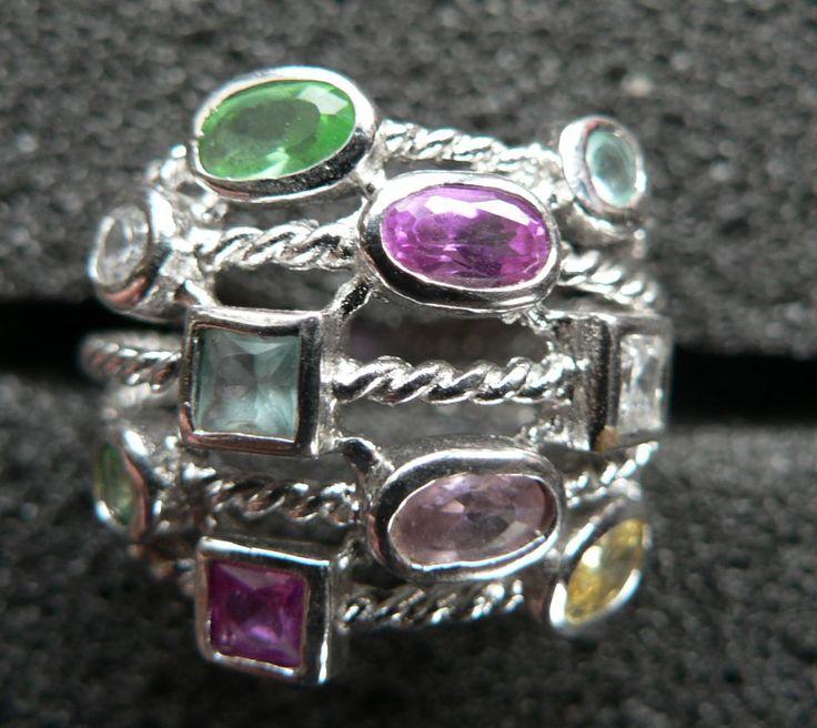 Кольцо мульти с полудрагоценными камнями 5,9 гр. 16 размер