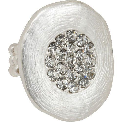 """Heirloom Finds Modern Organic Cocktail Ring with Pave Crystals in Matte Silver Tone Heirloom Finds. Save 48 Off!. $14.99. Arrives Gift Boxed!. Comfortable and Stylish!. Measures 1.25"""" by 1.12"""". Ring stretches to fit sizes 6 to 9. Designer Look"""