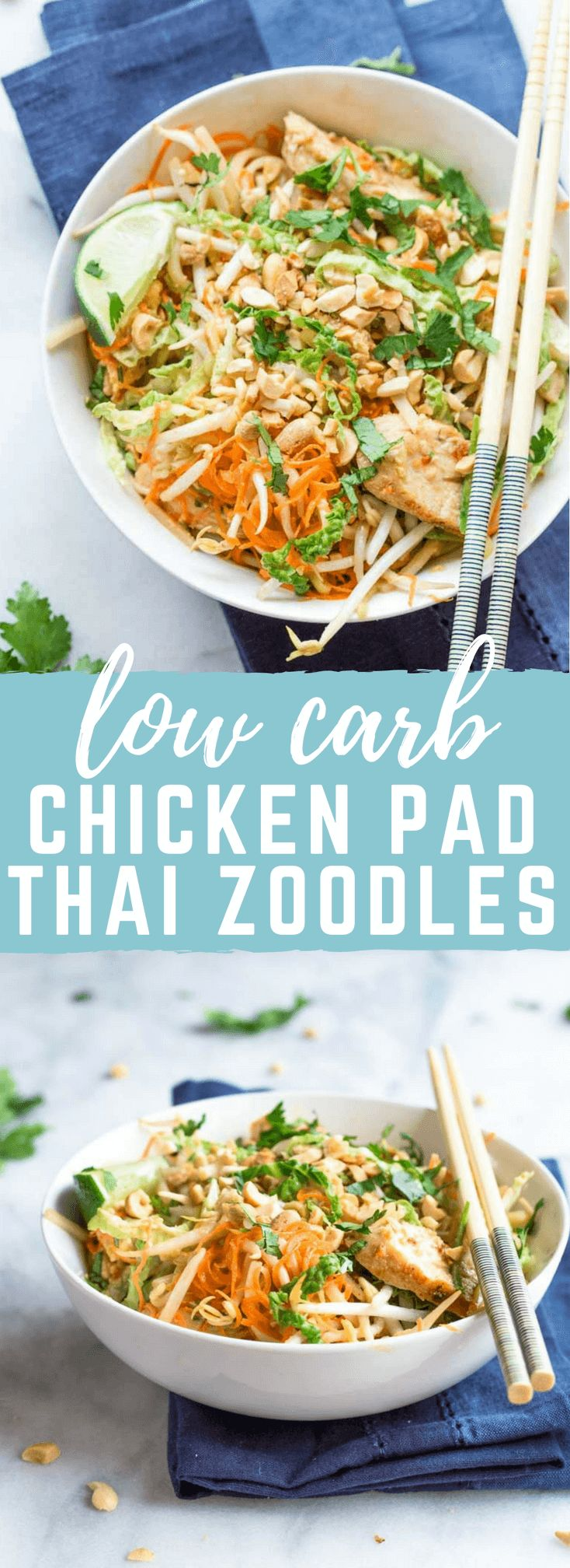 These Chicken Pad Thai Zoodles have so much flavor. This dinner is lower carb thanks to all the veggies like zucchini, carrots, bean sprouts, and cabbage. Grab the chopsticks and get this on your dinner table fast!