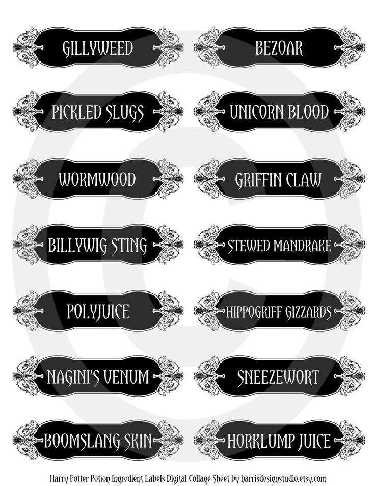 Harry Potter Potion Ingredient Labels Digital Collage Sheet-Harry Potter Hermione Granger Ron Weasley. $3.00, via Etsy.