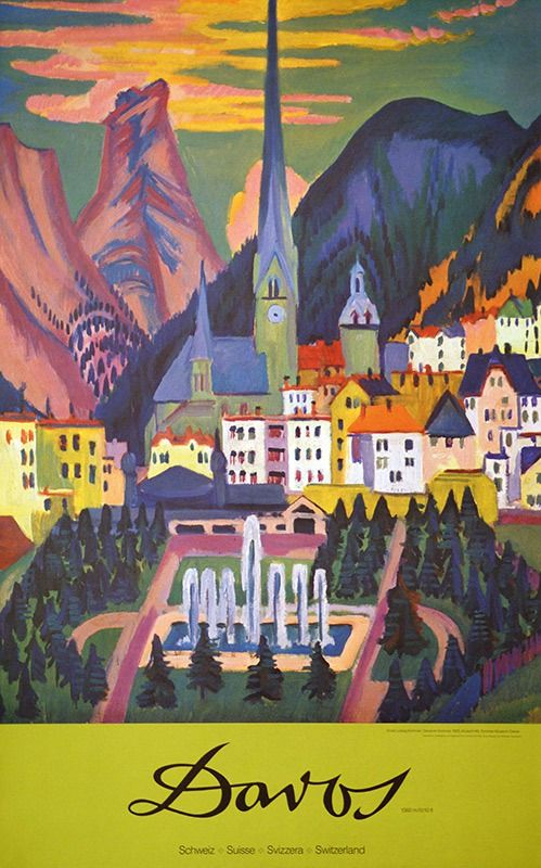 Beautiful! Vintage Resort Travel Poster: Davos, Switzerland