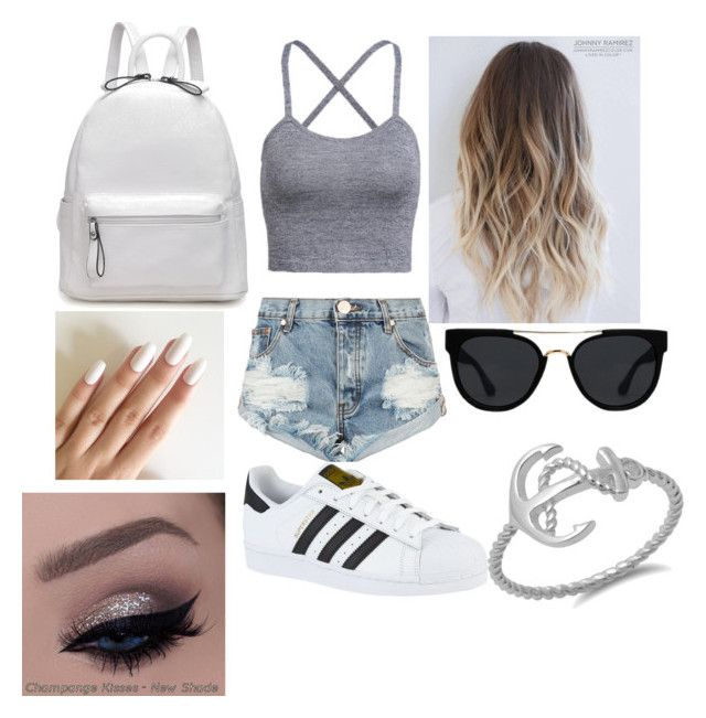 """""""Babyariel outfit"""" by faith-ann12 on Polyvore featuring beauty, One Teaspoon, adidas and Quay"""
