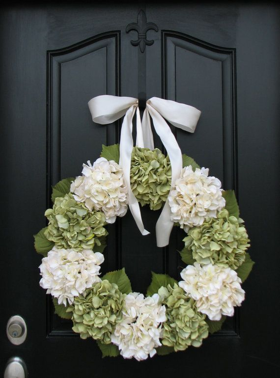 Hydrangea Wreaths, All Season Wreath, Green Hydrangeas, Summer Hydrangeas, Cream Ribbon Bows, Seasonal Hydrangeas, Front Door Wreaths