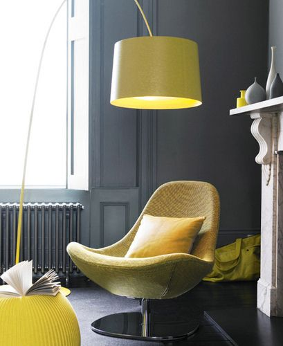 I love the colour combination of charcoal grey and canary yellow. This chair and lamp does the room good and compliments everything so nicely.