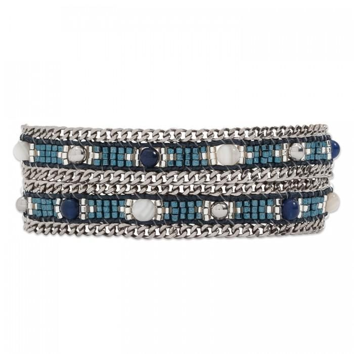 The Hipanema Amalia is a handmade double wrap bracelet that can also be used as a choker. The Amalia Blue is composed of blue glass and semi-precious beads weav