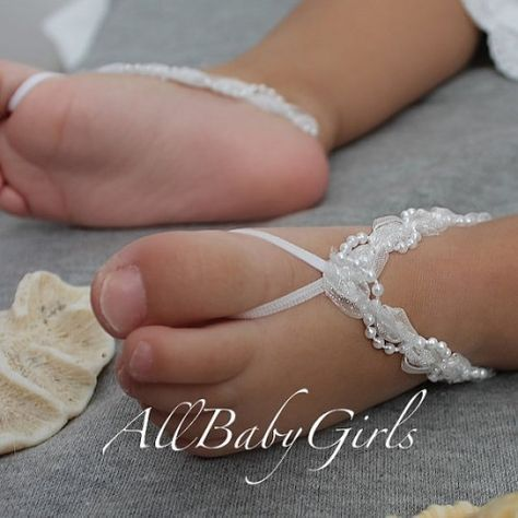 Glamour White Baby Barefoot Sandals with Pearls