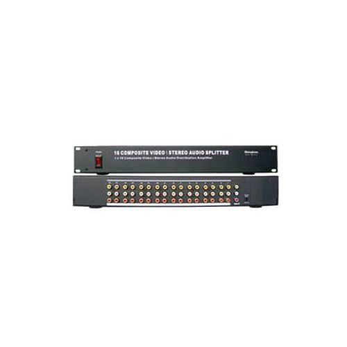 1x16 AV Distribution Amplifier SB-3712. 1 Input Composite Video/Stereo Audio(RCA). 16 Outputs Composite Video/Stereo Audio. Signals Amplifier Composite Video & Stereo Audio. Outstanding load drive capability.