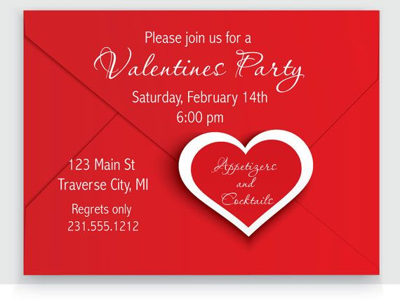 Valentines Invitation Printable Red Envelope Heart