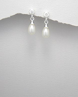 Sterling Silver Pearl and Crystal Drop Earrings