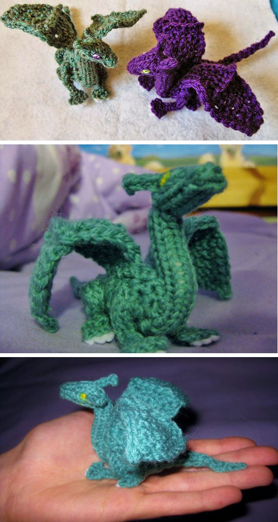 Knitting pattern for Palm-Sized Dragon by CraftyMutt (some crochet). Two inches…