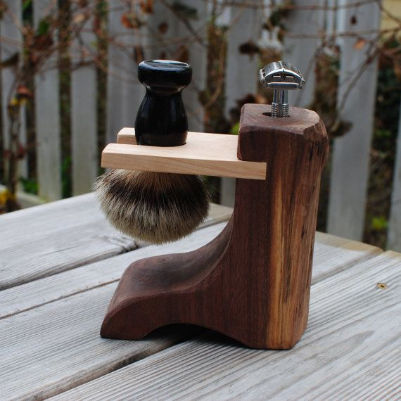 Shaving Stand for DE Razor and Brush- Live-edge Walnut Wood and Birdseye Maple